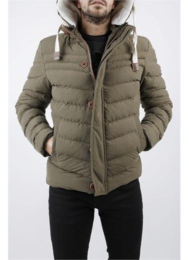 XHAN Hardal Kapüşonlu Comfort Slim Fit Şişme Mont 0Yxe4-44076-37 Haki